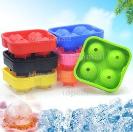 Round Ice Cream Mold Australia - 4 Balls Whiskey Ice Cube Maker MoldDrinking Wine Tray Brick Round Maker Mold Sphere Mould Party Bar Ice Moldes 10 color 100pcs