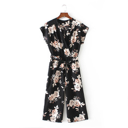 casual floral women jumpsuits UK - Women Vintage V Neck Floral Jumpsuits Wide Leg Pants Sashes Pleated Elastic Waist Rompers Summer Casual Playsuits
