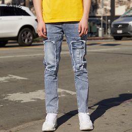 $enCountryForm.capitalKeyWord Australia - Enjeolon Men's Jeans Skinny Hip Hop Cool Streetwear Biker Patch Hole Ripped Zipper Jeans Slim Mens Clothes Pencil Homme NZ083
