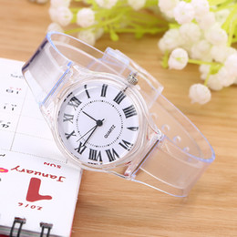 Novelty Plastic Glasses Wholesale Australia - High Quality Crystal Watch Cartoon Novelty Transparent Silicone Strap Classic Electronic Watch for Student Women Wrist