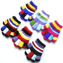 Kids glove striped online shopping - Children Magic Gloves Fashion Kids Warm Wnter Rainbow Stretchy Lovely Girl Colored Double Layer knitted Gloves TTA1517