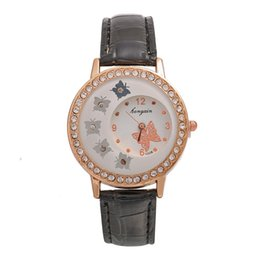 Glass butterfly dresses online shopping - 2019 fashion women ladies diamond crystal butterfly pattern leather watch simple lady students dress casual watches