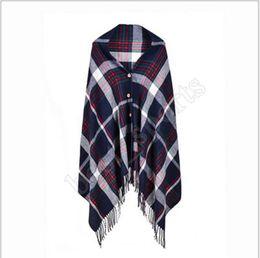 8 Colors Women Plaid Scarves Grid Tassel Wrap Oversized Check Shawl Winter 180cm Neckerchief Lattice Button Scarf ZZA1322 10pcs on Sale