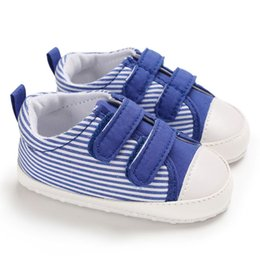 Infant Prewalkers Australia - Newborn Baby Boys Stripe Shoes Sneakers Crib Footwear First Walker Infant Cotton Soft Sole Non-slip Prewalkers