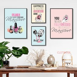 Discount girl pop art - Cartoon Nail Polish Quotes Wall Art Canvas Painting Nordic Posters And Prints Pop Art Salon Wall Pictures For Girl Bedro