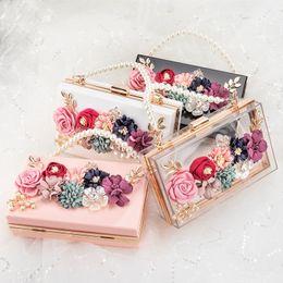 Clear Clutch Bag Australia - Women Luxury Evening Bags Wedding Party Pearl Flower Bride Handbag Crossbody Clear Hard Box Clutch Transparent Chain Bag Y19061301