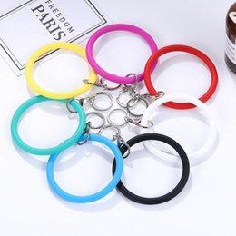 $enCountryForm.capitalKeyWord Australia - Silicone Wrist Key Ring Fashion Bracelet Sports Keychain Bracelets Bangle Round Key Rings Large O Cute Keyring Jewelry