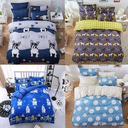 3d 4pc Quilt Bedding Set UK - Wholesale- Cartoon Animal Bull Dog Bear Panda Rabbit 4Pc Twin Full Queen King Size Bedding Quilt Duvet Cover Set&Sheet Shams Kids Children