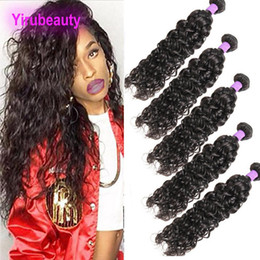 Discount wet curly human hair - Malaysian Virgin Human Hair 5pieces lot Bundles Water Wave 8A Unprocessed Mink Five Double Wefts Hair Extensions Wet And
