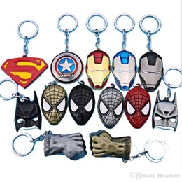 Wholesale Superhero Party Decorations Australia - The avengers ironman Deadpool keychain ring toy set 2016 New Superhero Spiderman Captain America shield helmet party decoration