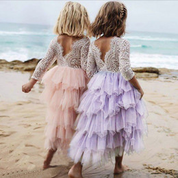red tutu 2t Australia - Girls Backless Lace Dress Long Sleeves Christening Gowns Layers Tulle Cake Wedding Party Princess tutu Dresses Girls Clothes