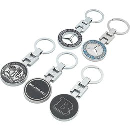 Discount mercedes benz ring - Fashion Unisex Hollow Solid Double-Sided H-Button Mercedes-Benz Barbos AMG Apple Tree Car Logo Metal Key Ring Hanging Pi