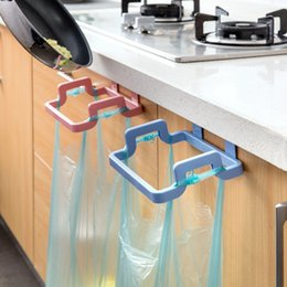 Wholesale 4 Colors New Eco friendly Kitchen Door Back Hanging Style Cabinet Stand Trash Garbage Bags Support HolderHome Table Kitchen dinning Bar Tool