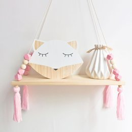 eco wood toys UK - Nordic Nursery & Kids Decor Tassels Storage Shelf Rack Wall Hanging Wood Toys Model Baby Kid Room Furnish Artic Home Decoration