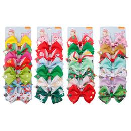 $enCountryForm.capitalKeyWord Australia - Colorful Girl Bowknot Hair Clip Cute Boutique Child Ribbon Bow Barrettes Creative Kids Christmas design Hair Accessories TTA756