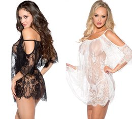 transparent white dress lingerie Canada - Women Sexy Lingerie Dresses Women's sexy underwear Sexy eyelashes, lace, transparent shoulder drain, funny nightdress Black and white