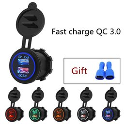 Wholesale 5V 3.4A Dual USB Car Charger Fast charge QC 3.0 Universal Dual USB Port Power Outlet for Motorcycle Car With Dustproof Plastic Cover HHA285