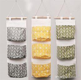 $enCountryForm.capitalKeyWord Australia - Wall Hanging Organizer Bags Cotton Linen Holder Storage Bag Door Hanging Sundry Bags Sundry Sorting Bags 3 Pockets Home Supplies