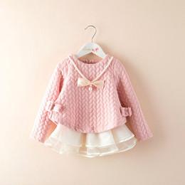 Discount beautiful full length dresses - 2019 Spring Baby Girls Dresses Fashion Full Sleeve O-neck Solid Baby Girl Beautiful Princess Lace Dress Children Clothin