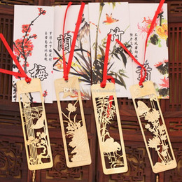 Metal Orchid Australia - Wedding Favor Gold Bookmark Wintersweet Orchid Bamboo Chrysanthemum Metal Creative Chinese Style Hollow Bookmarks DHL Free Shipping