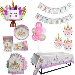 Decor Tables Australia - WEIGAO Unicorn Party Decor Birthday Latex Balloons Unicorn Theme Paper Hat Napkins Plate Table Cloth Kids Happy Birthday Gifts