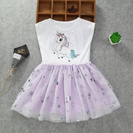 11c1880ccd9f Boutique Unicorn Baby girl Kids Princess Dress Cap sleeve Bling bling Stars  Tulle dresses Girls clothes 2-8years 2019 Summer