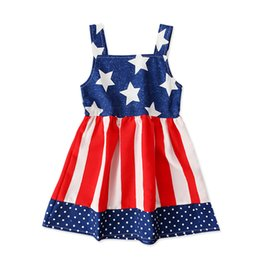 Discount dresses contrast girls - 2019 Girls Star Striped Dress Summer Children American flag United States Independence Day Sling Backless Princess Dress