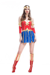 $enCountryForm.capitalKeyWord Australia - Adult Women Halloween Superhero Wonder ladies Costume Short Sexy Sleeveless Dress Fancy Cosplay Outfit Clothing Set For girls