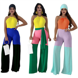 Wholesale jumpsuit wide legs for sale - Group buy Patchwork Women Jumpsuits Sleeveless Halter Rompers Fashion Wide Leg Pants Jumpsuit One piece Bodysuit With Belt Female Designer Romper S X