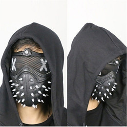 Pvc Plastic Full Face Masks Australia - Watch Dogs Mask WD2 Mask Marcus Holloway Wrench Cosplay Halloween Rivet Face Masks Half Face PVC Plastic Mask Party Props