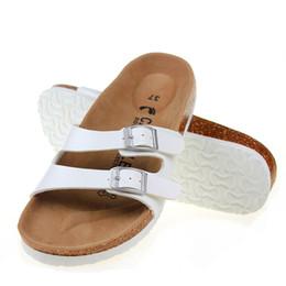 $enCountryForm.capitalKeyWord NZ - famous brand unisex cork sandals double buckle slippers casual design women men pu leather flip flops valentine shoes