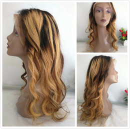 $enCountryForm.capitalKeyWord Australia - Colored Brown Honey Blonde Loose Wave Peruvian Human Hair Braided Lace Front Wigs Highlight F4 27 Ombre Wig Pre Plucked Wavy Full Lace Wig