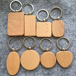 Simple Girls Ring Australia - Free DHL Simple Style Wood Key Chains Key Rings DIY Wood Round Square Heart Oval Rectangle Shape Key Pendant Handmade Keychain Gift D274L F