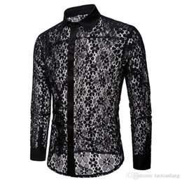 Luxe Floral broderie dentelle Shirt Hommes 2019 Brand New Transparent Robe sexy Chemises hommes Voir Trough club Black Party Shirt Homme J190790