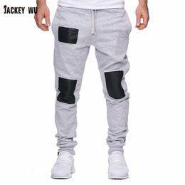 Flat Patch NZ - JACKEYWU Brand Men Sweatpants 2019 Fashion Trend Patch Leather Joggers Elastic Waist Hip Hop Streetwear Casual Men's Pants Black