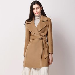 Wholesale jacket slim lady trench coat resale online - Ladies Wool Jackets Office Fashion New Coats Camel With Belt Cashmere Overcoats Coat Winter Jackets Trench Pure Wool