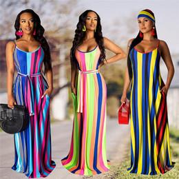 $enCountryForm.capitalKeyWord NZ - Striped Print Summer Bohemian Long Dress Women Spahetti Strap Backless Beach Maxi Dress Sexy O Neck Sleeveless Sash Party Dress N19.7-2098