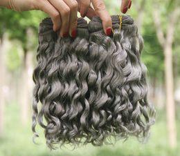 Discount grey hair extensions sale - New Arrive Gray Deep Wave Bundles 3Pcs Lot Brazilian Virgin Human Hair Extensions Sliver Grey Human Hair Weaves For Sale