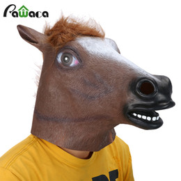 $enCountryForm.capitalKeyWord NZ - Event Party Masks Full Head Mask Horse Head Mask Creepy Fur Mane Latex Realistic Crazy Rubber Super Creepy Party Halloween Costume