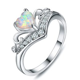 $enCountryForm.capitalKeyWord Australia - Upgrade Charming 14k White Gold White   Blue Fire Opal Heart & Claws Crown Women's Ring Wedding Engagement Jewelry Bridal Accessory Size 5-1