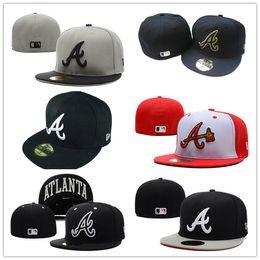 AtlAntA brAve hAts online shopping - 2018 Men Braves fitted hat flat Brim embroidered A Team logo on field Atlanta fans baseball Hats full closed cap mens womens