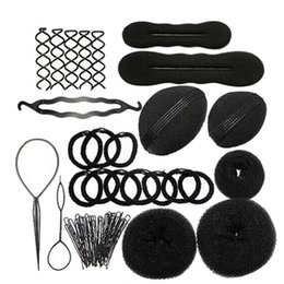 $enCountryForm.capitalKeyWord NZ - Mayitr Women Useful Magic Hair Styling Clip Maker Tool Kit Set Pads Foam Sponge Hairpins Bun Donut Tool For Styling Tools