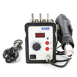 Wholesale 858D V Hot Air Gun W ESD Soldering Station LED Digital Heat Gun Desoldering Solder Station Upgrade From D Air Nozzles