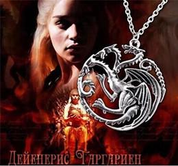 Alta Qualidade Targaryen Dragão Colar De Jóias Daenerys Canção De Gelo E Fogo Jogo Dos Tronos Targaryen Dragão Crachá Colares venda por atacado