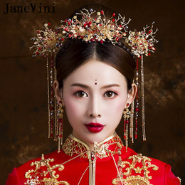 fdb5d95f9 JaneVini Traditional Chinese Style Red Beaded Bridal Headdress with  Earrings Ancient Jewelry Hairpins Long Tassels Wedding Hair Accessories