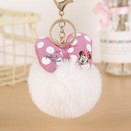 $enCountryForm.capitalKeyWord Australia - 2019 Bowknot With Rabbit fur Ball For Car Keychain Bag Key Ring Jewelry for Women Bag Holder EH882