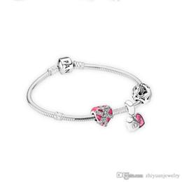 Sterling Silver Diamond Bangle Bracelet NZ - 2018 mothers day gifts heart to heart charm bracelets bangle 925 sterling silver jewelry full package gifts
