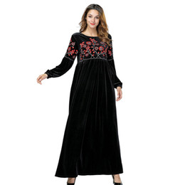 VelVet abaya online shopping - Autumn Winter Velour Black Muslim Abaya Ramadan Warm Arabic Dress Turkey Women Casual Velvet Maxi Vintage Elegant Dress