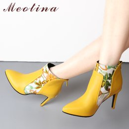 short white high heels NZ - Meotina Shoes Women Boots High Heel Ankle Boots Flower Pointed Toe Stiletto Short Boots Zip Female Footwear White Yellow 45 46 T200425