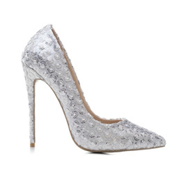 lady b heels UK - 2019 Elegant Wedding Party Flower Sequined Woman Pumps 12cm Thin Spike High Heels White Glitter Pointed Toe Club Office Ladies Dress Shoes